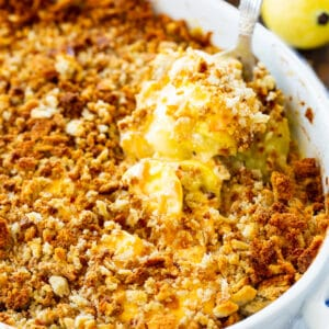 Squash Casserole with Stuffing Top in a baking dish.