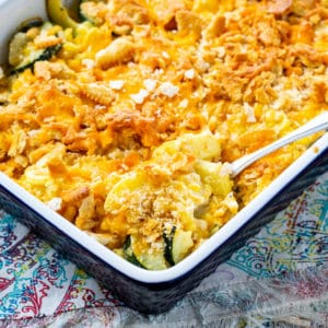 Cheesy Squash, Zucchini, and Corn Casserole