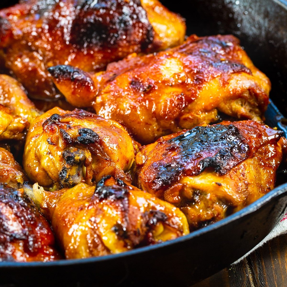 Southern Sticky Chicken in cast iron pan.
