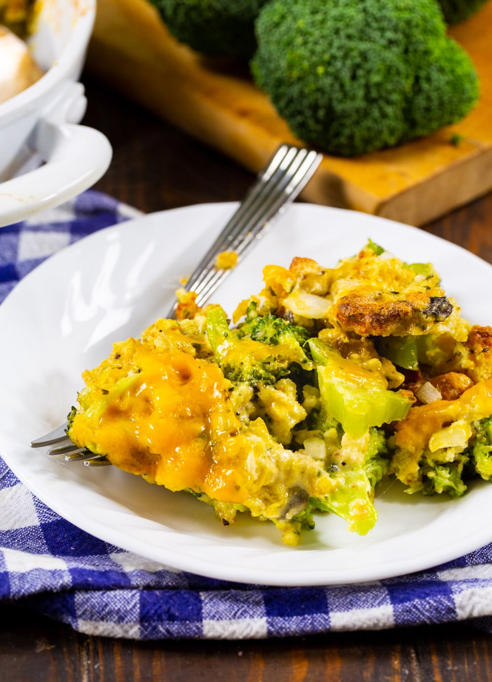 Serving of Broccoli Casserole on a plate.