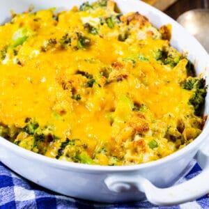 Stove Top Broccoli Casserole in a baking dish.