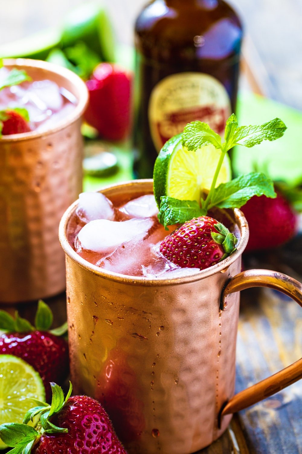 Strawberry Moscow Mule in copper cup.
