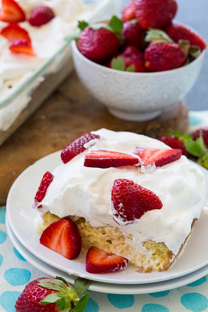 Tres Leches Cake with sliced Strawberries