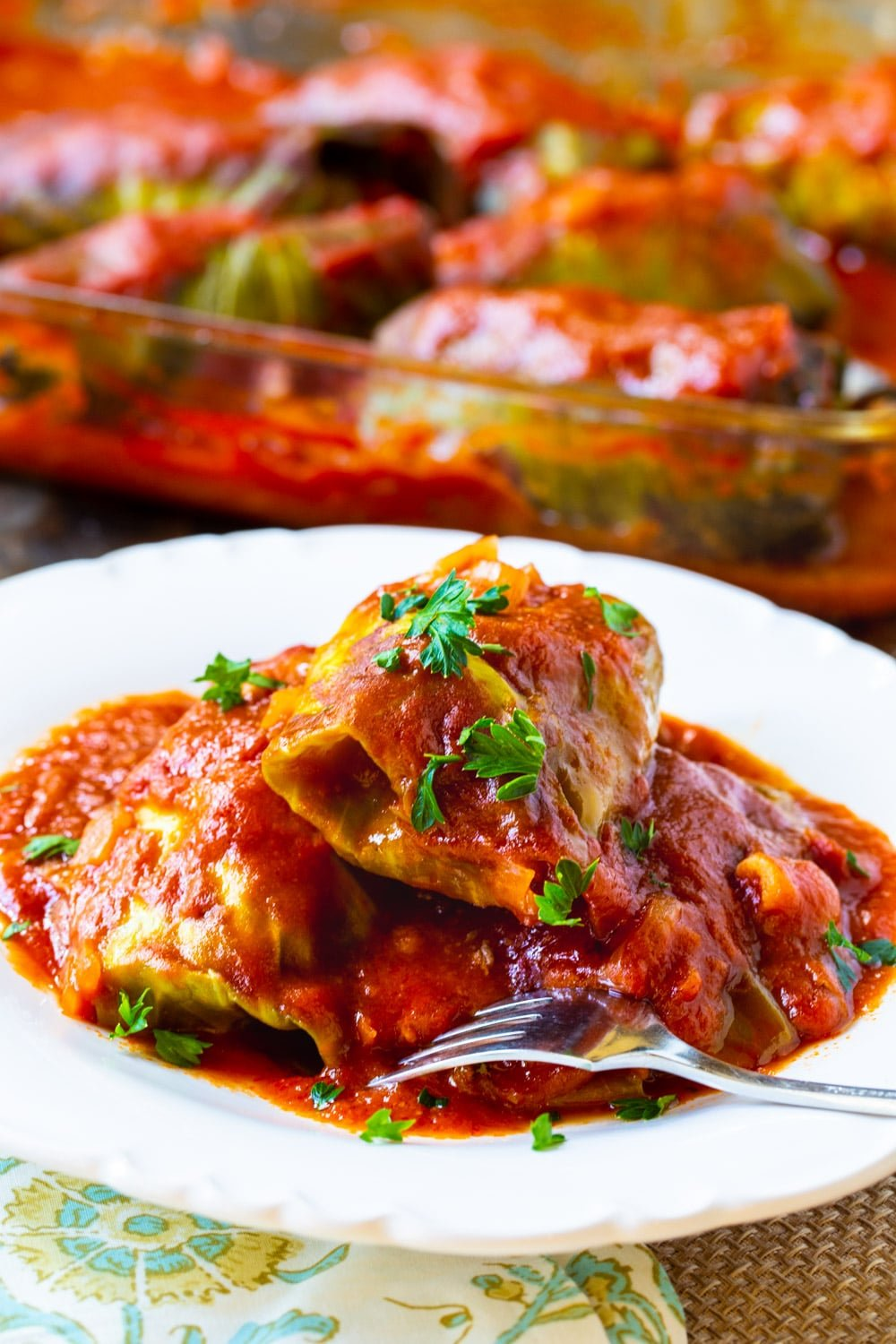 Cabbage Rolls on a plate with fork.