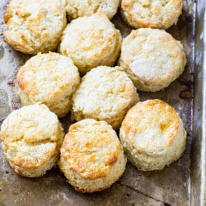 Biscuits on a baking sheet.