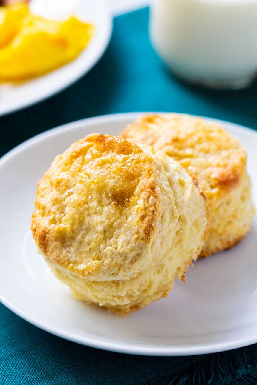 Two biscuits on a plate.