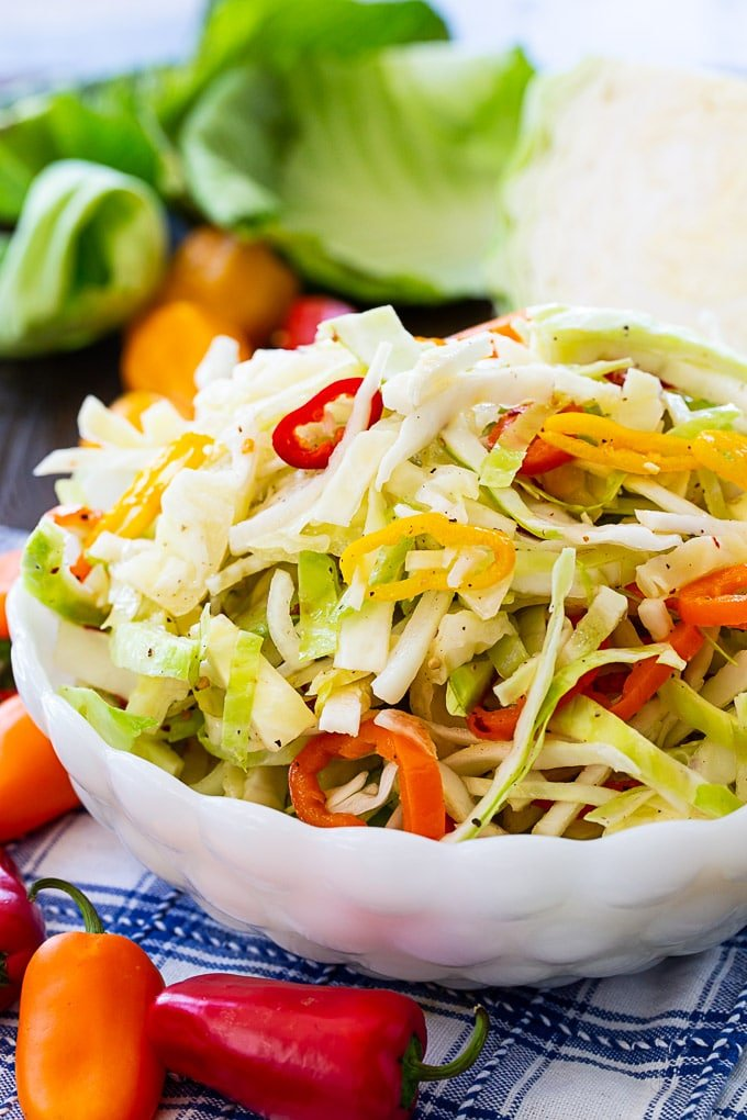 Marinated Cabbage and Sweet Pepper Slaw