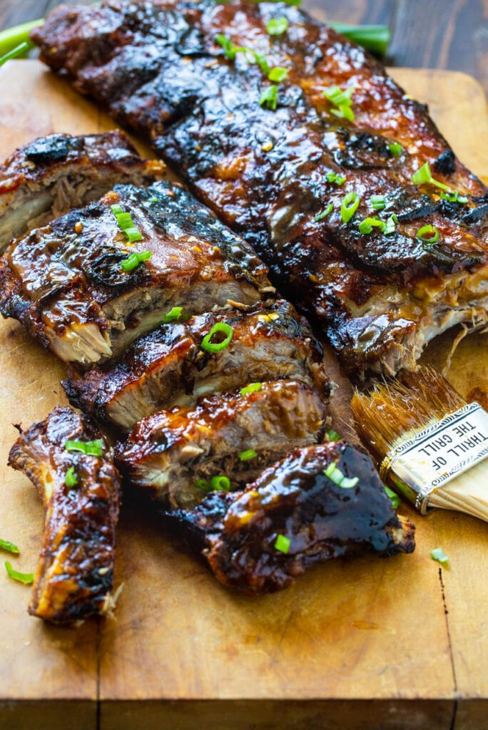 Sweet and Sour Baby Back Ribs on a cutting board.