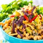 Tex Mex Pasta Salad in a blue bowl.