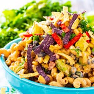 Tex Mex Pasta Salad in a blue bowl.