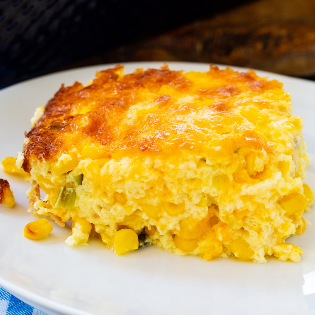 Three Cheese Corn Pudding on a plate.