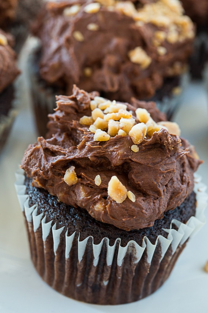 Chocolate Buttermilk Cupcakes with Toffee Frosting