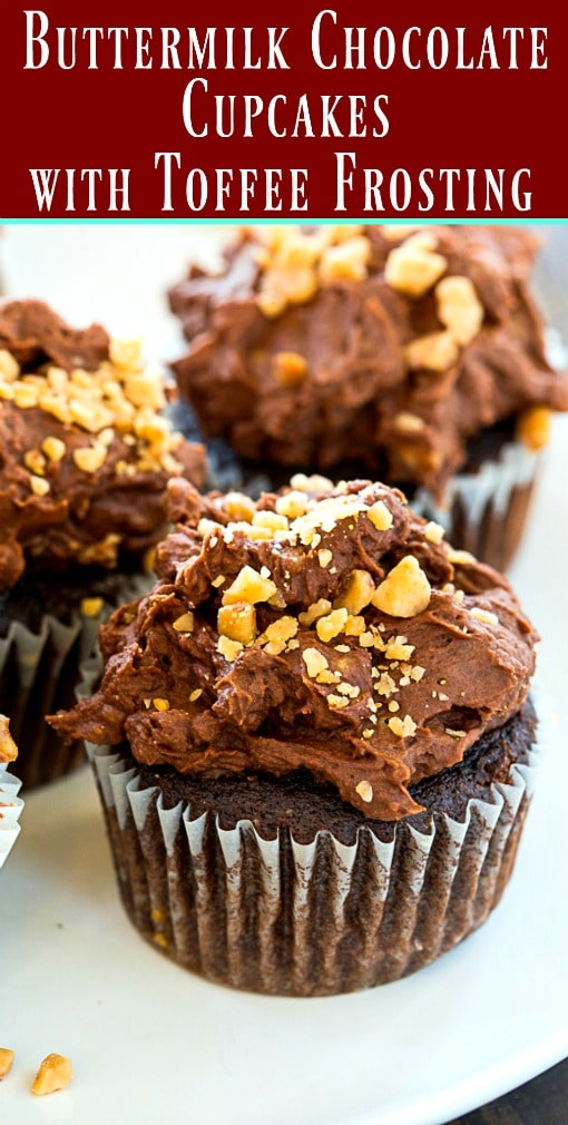 Buttermilk Chocolate Cupcakes with Toffee Frosting