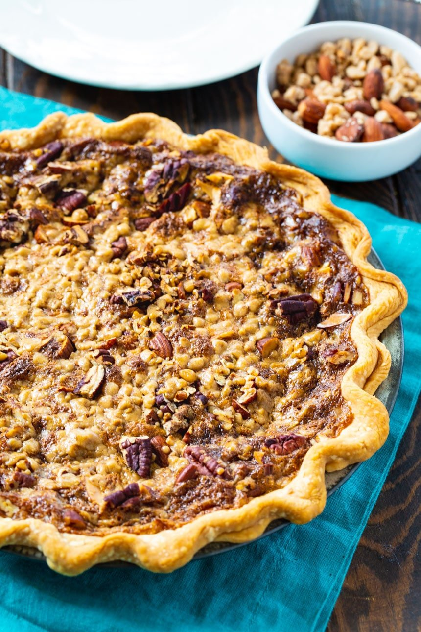 Toffee Nut Pie made with a refrigerated pie crust