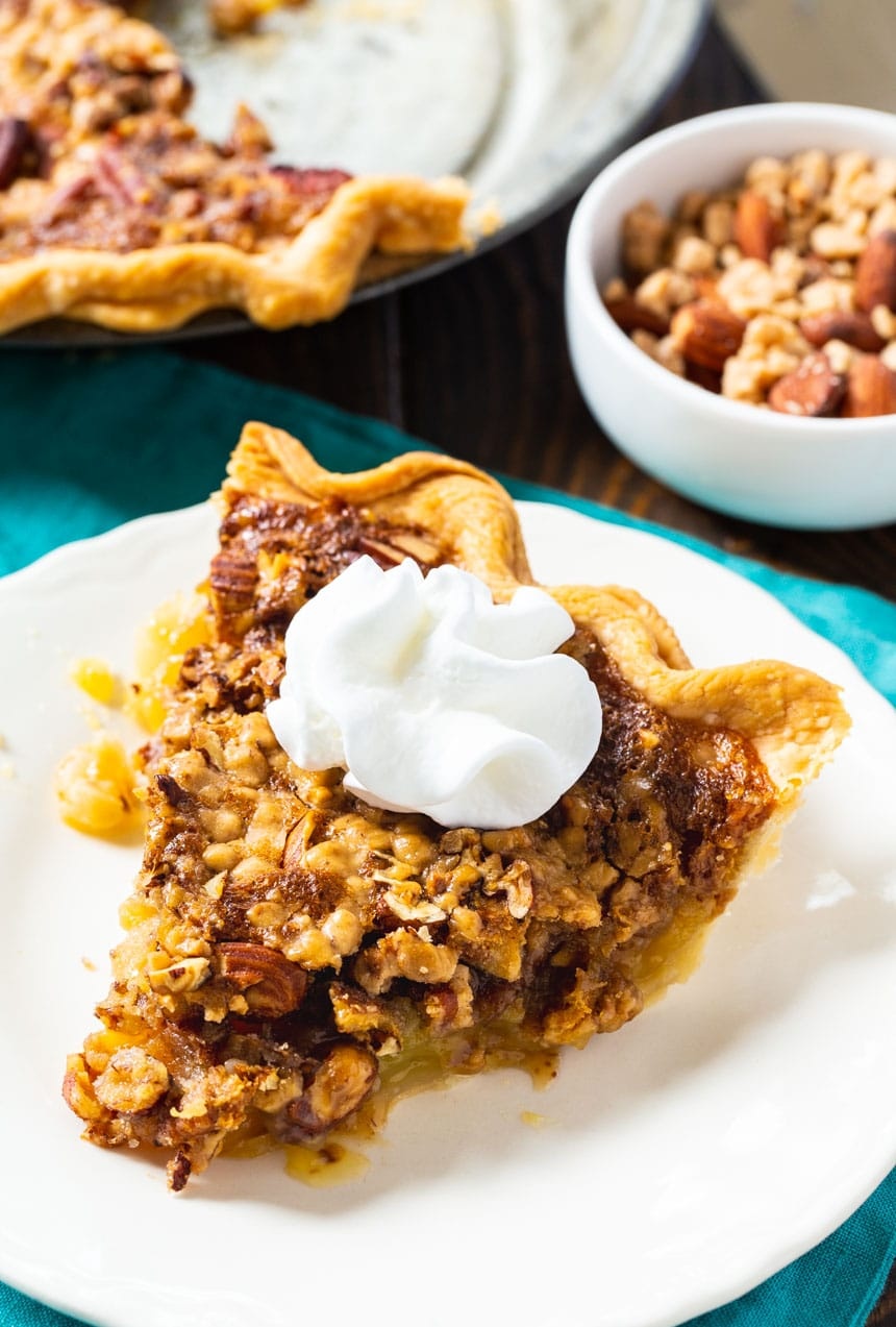 Slice of Toffee Nut Pie with whipped cream