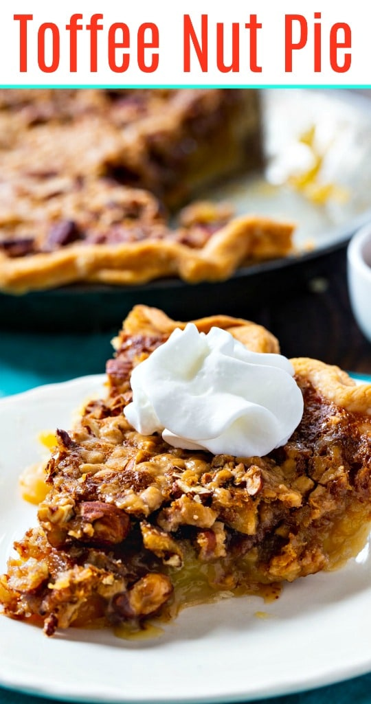 easy pie filled with almonds, pecans, and toffee