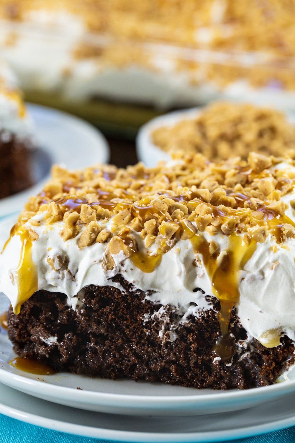 Close-up of piece of Toffee Poke Cake.