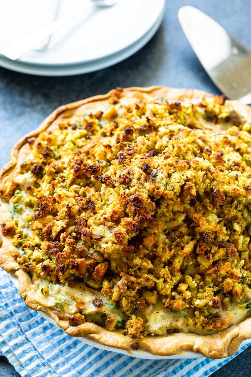 Turkey Pot Pie in a pie plate.