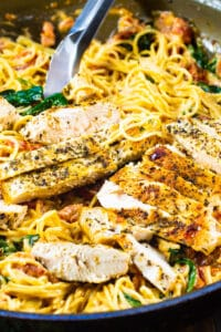 Tuscan Chicken Pasta in a large skillet.