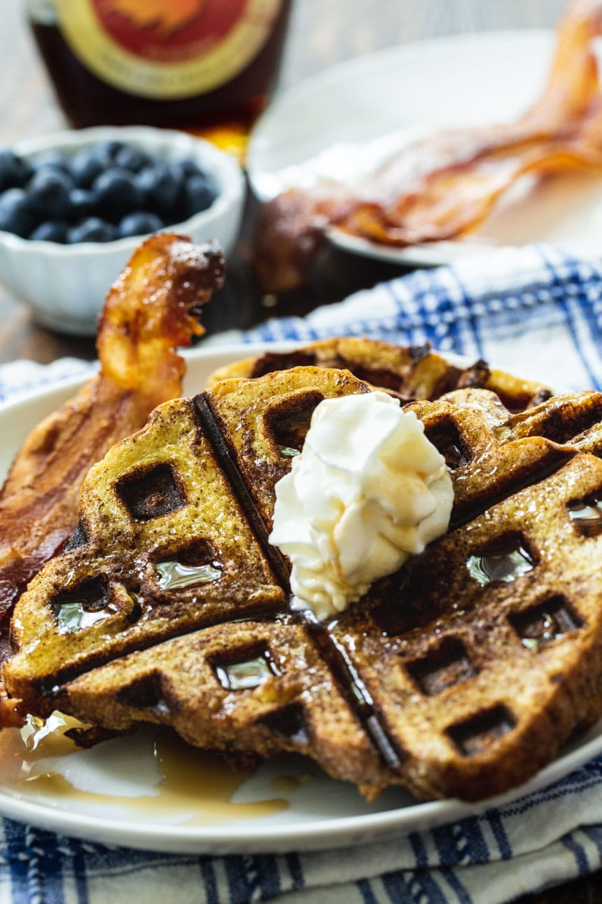 Close-up of Waffled French Toast on a plate