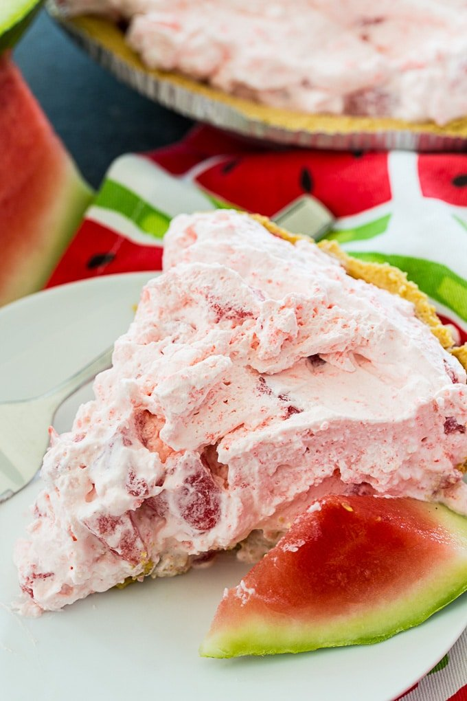 Watermelon Pie in graham cracker crust