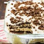 White Chocolate Lasagna in a 9x13-inch baking dish.