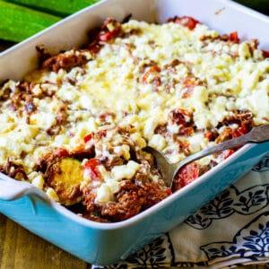 Zucchini Moussaka in a casserole dish.