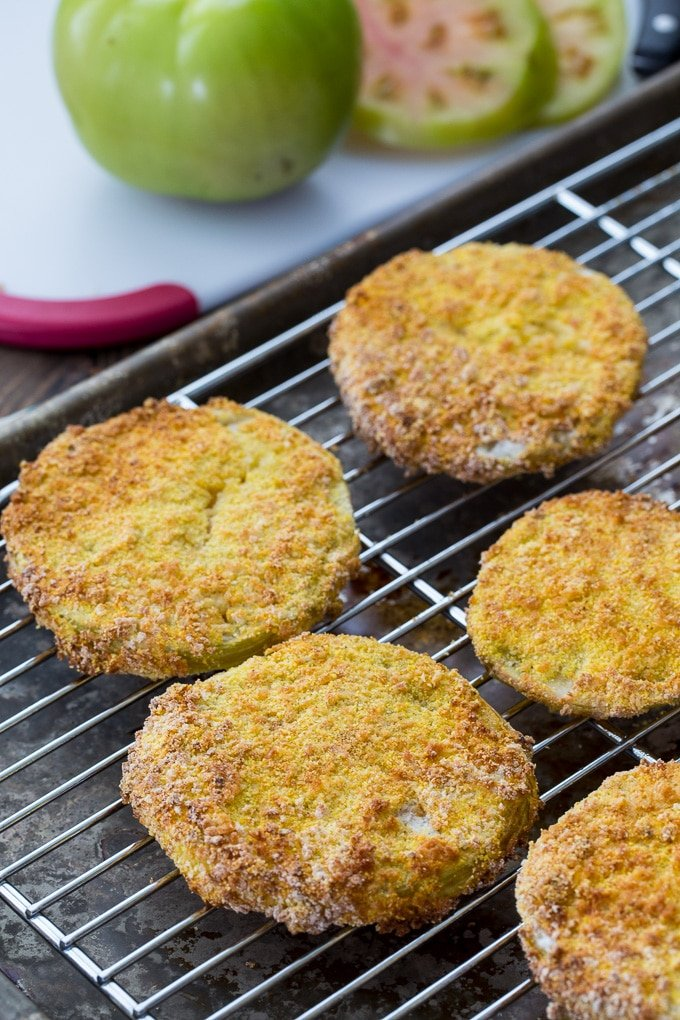 Fried Green Tomatoes made in an air fryer