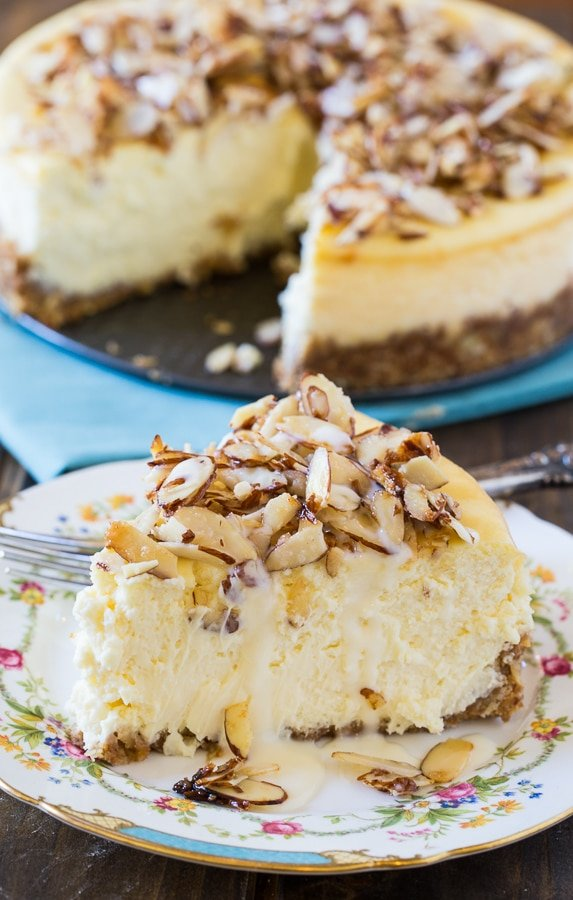 Amaretto Cheesecake with sugared almonds and an amaretto cream sauce.