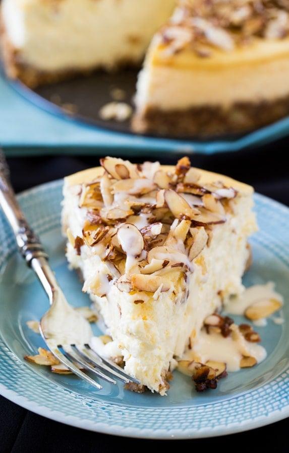Amaretto Cheesecake with sugared almonds and an amaretto cream sauce