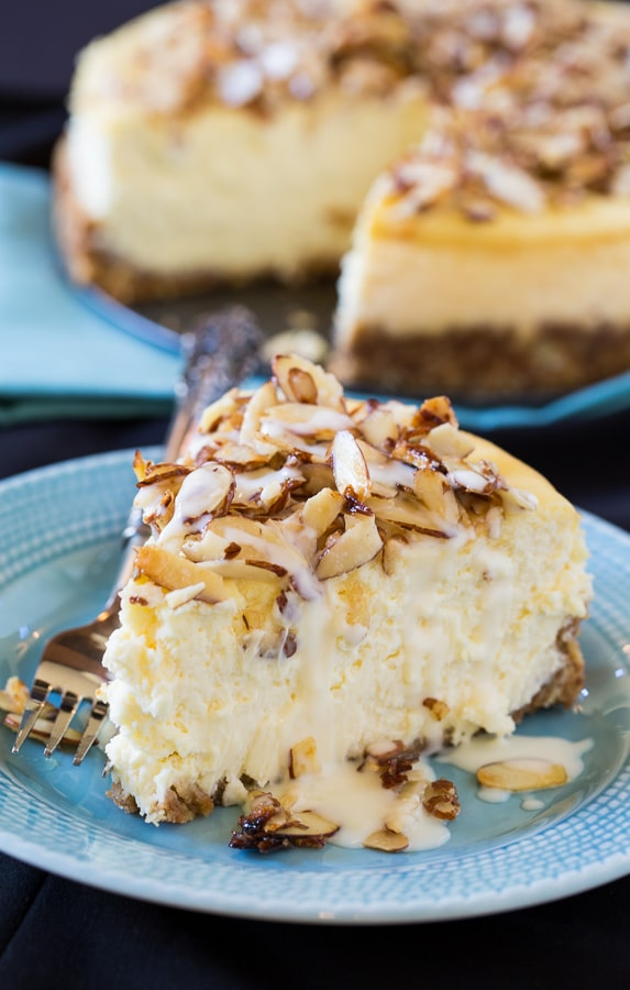 Amaretto Cheesecake with sugared almonds and an Amaretto cream sauce