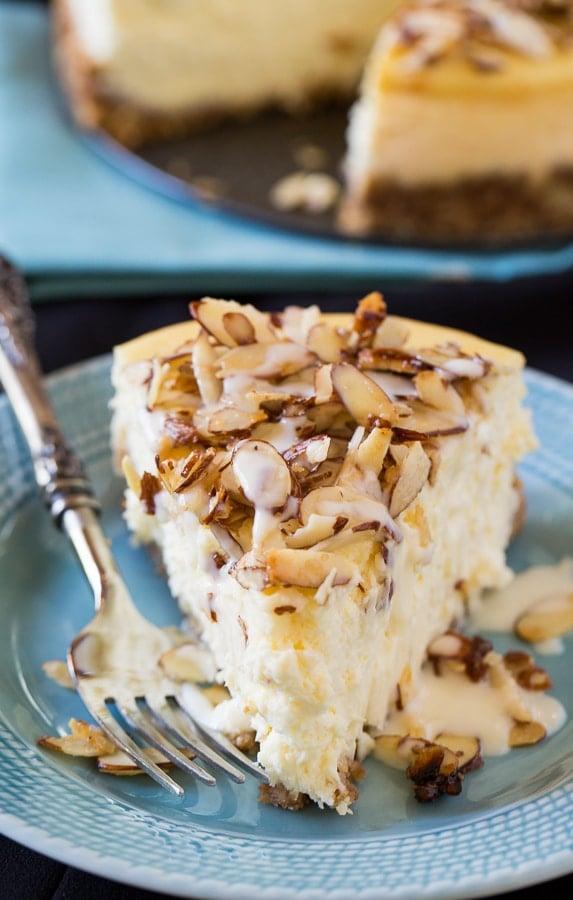 Amaretto Cheesecake with sugared almonds