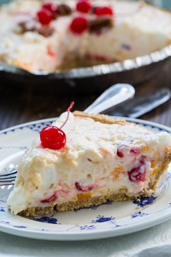 Ambrosia Pie in a graham cracker crust