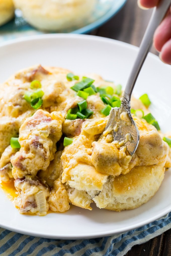 Andouille Sausage Gravy and Biscuits