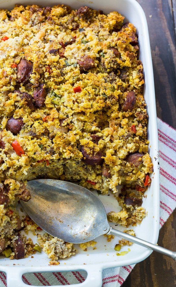 Andouille Sausage and Cornbread Stuffing is spicy and full of 2 kinds of sausage.
