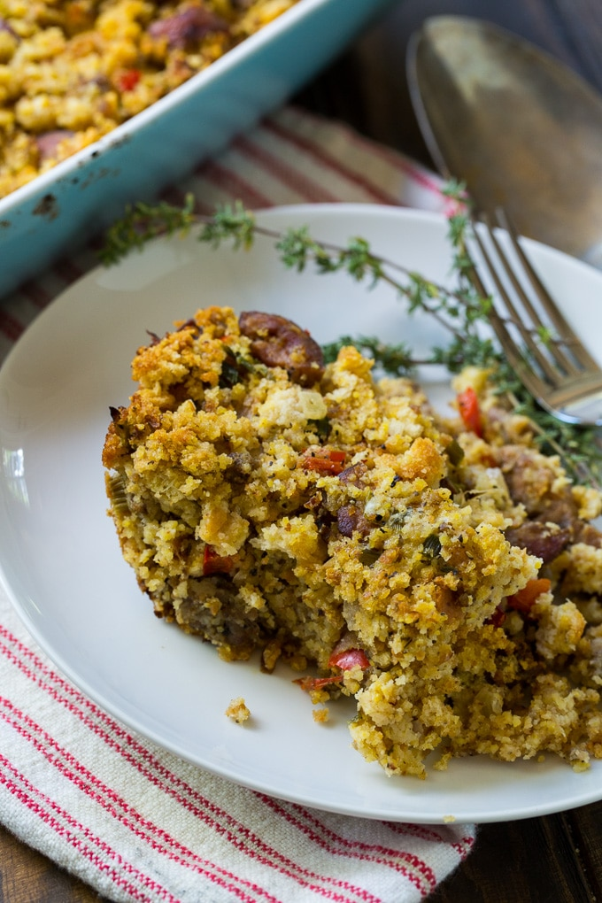 Andouille Sausage and Cornbread Stuffing for a southern Thanksgiving
