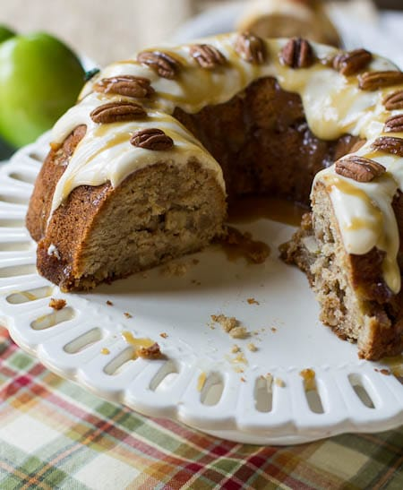 Caramel Apple Pound Cake with Cream Cheese Icing