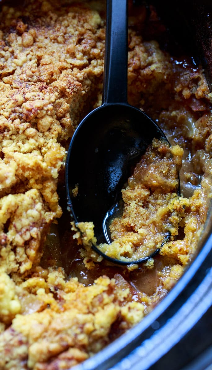Slow Cooker Apple Cobbler made from fresh apples. Wonderful fall dessert!
