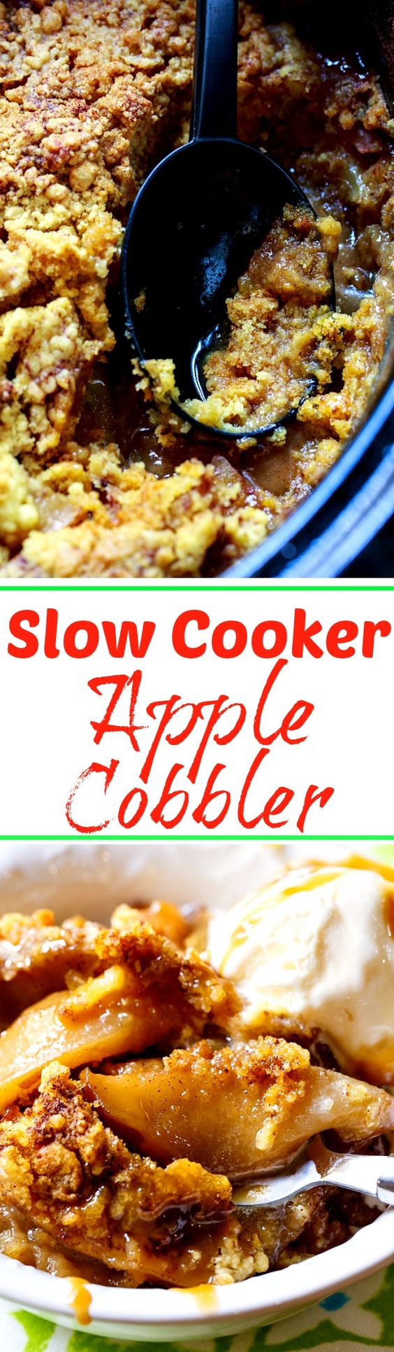 Slow Cooker Apple Cobbler. Only a few ingredients needed to make this delicious fall dessert!