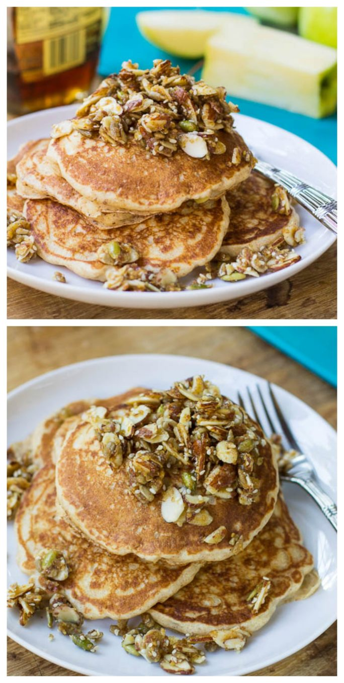 Whole Wheat Apple Pancakes with Nutty Topping - Spicy Southern Kitchen