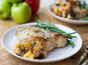 Pork Chops Stuffed with Apples and Bacon