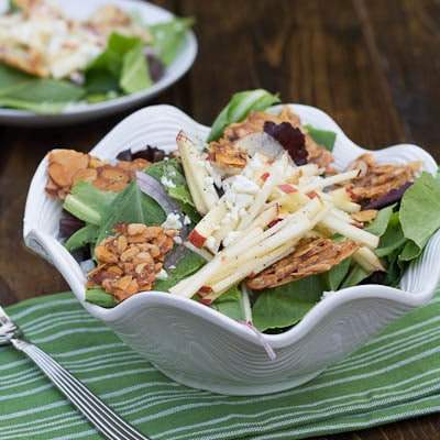 Mixed Green Salad with Apple and Almond Brittle