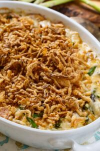 Super creamy Asparagus Casserole with a french-fried onion topping.