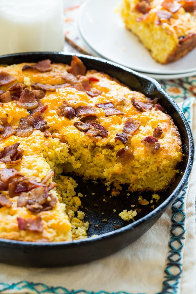 make my Bacon Cheddar Cornbread, I start by crisping up lots of bacon ...