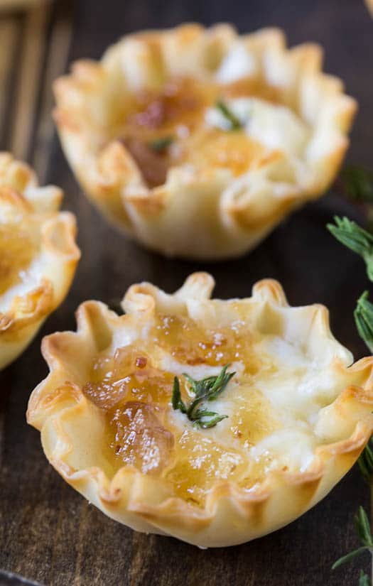 Filo Cups with Mascarpone Cheese and Maple Bacon Onion Jam