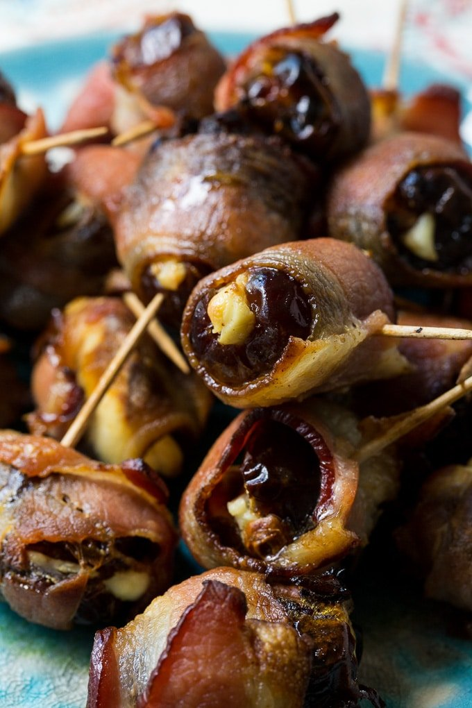 Bacon Wrapped Stuffed Dates makes a great holiday appetizer