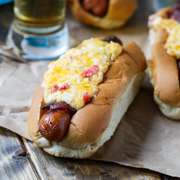 Bacon-Wrapped Hot Dogs with Pimento Cheese