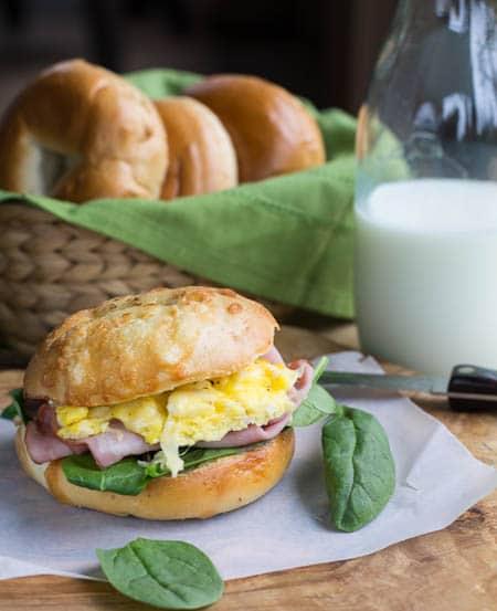 Ham, Egg, and Gruyere Bagel Sandwich