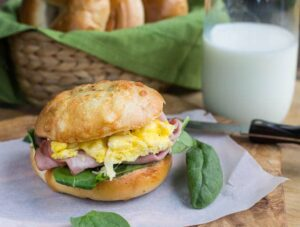 Ham Egg and Gruyere Bagel Sandwich