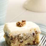 Banana Cake with Cream Cheese Frosting and chocolate chips.